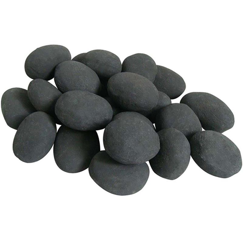 Ceramic Pebbles for Fire Pit or Fireplaces, Black, Set of 24