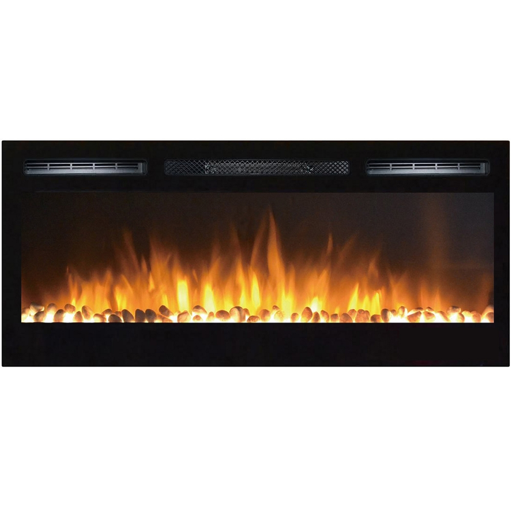 Madison 36 Inch Pebbles Recessed Wall Mounted Electric Fireplace
