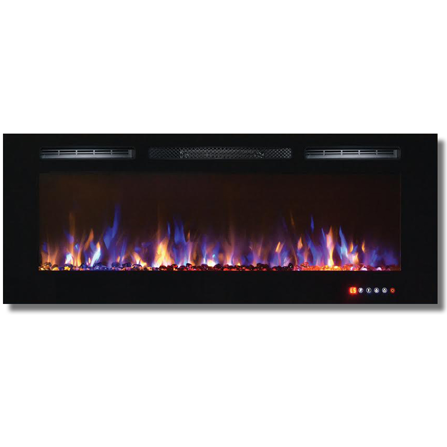 Bombay 50 Inch Crystal Recessed Touch Screen Multi-Color Wall Mounted Electric Fireplace