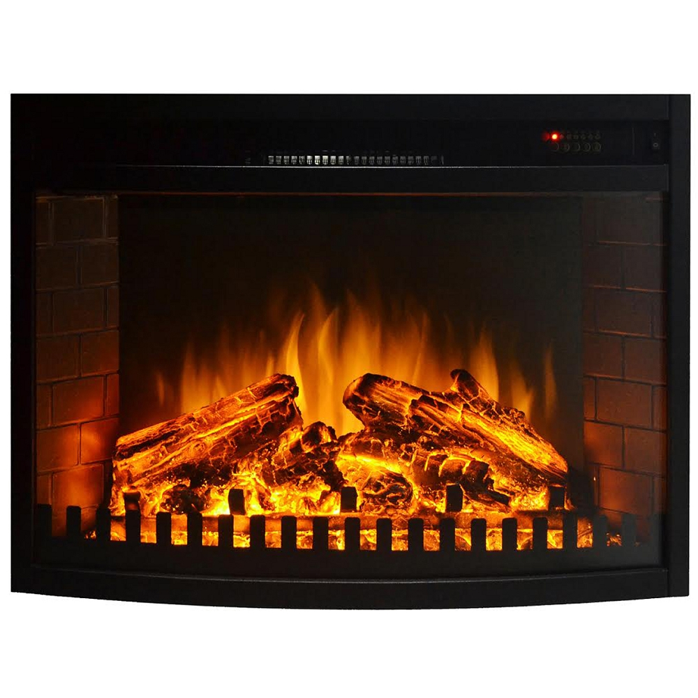 26 Inch Curved Ventless Electric Space Heater Built-in Recessed Firebox Fireplace Insert