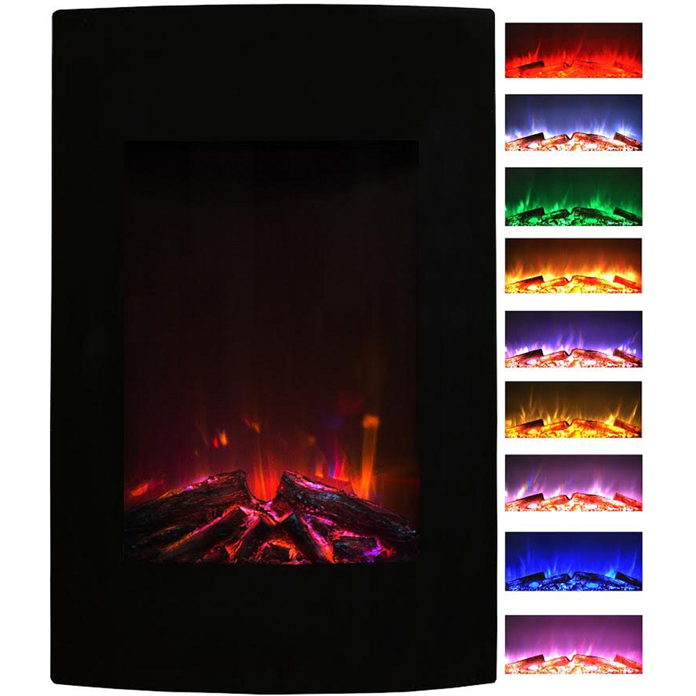 Alpine 23 Inch Multi Color Curved Black Wall Mounted Electric Fireplace