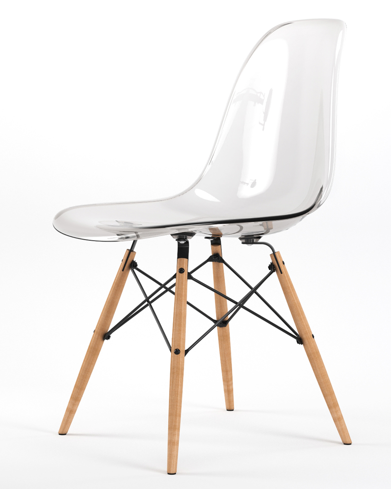 Armin Wood Leg Dining Side Chair in Clear