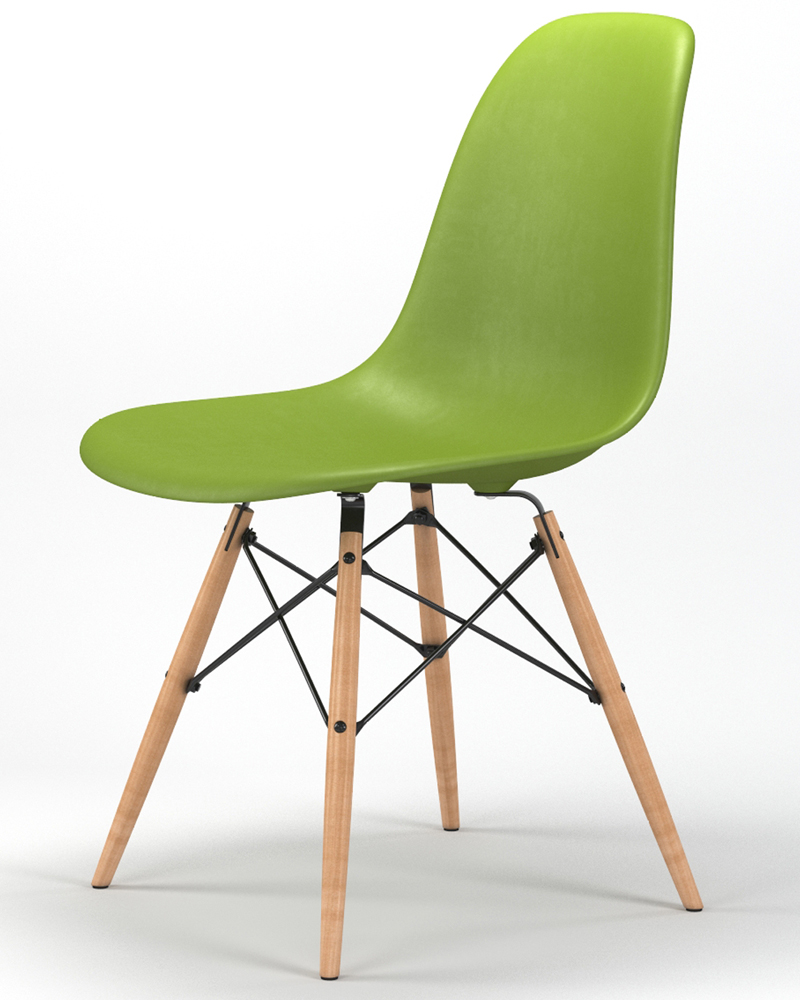 Armin Wood Leg Dining Side Chair in Green