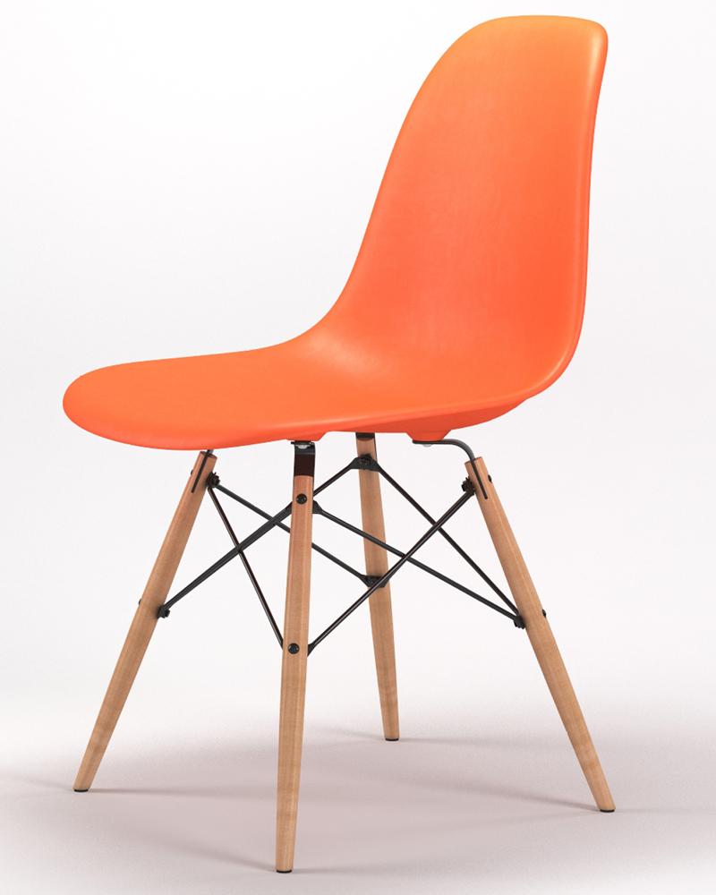Armin Wood Leg Dining Side Chair in Orange