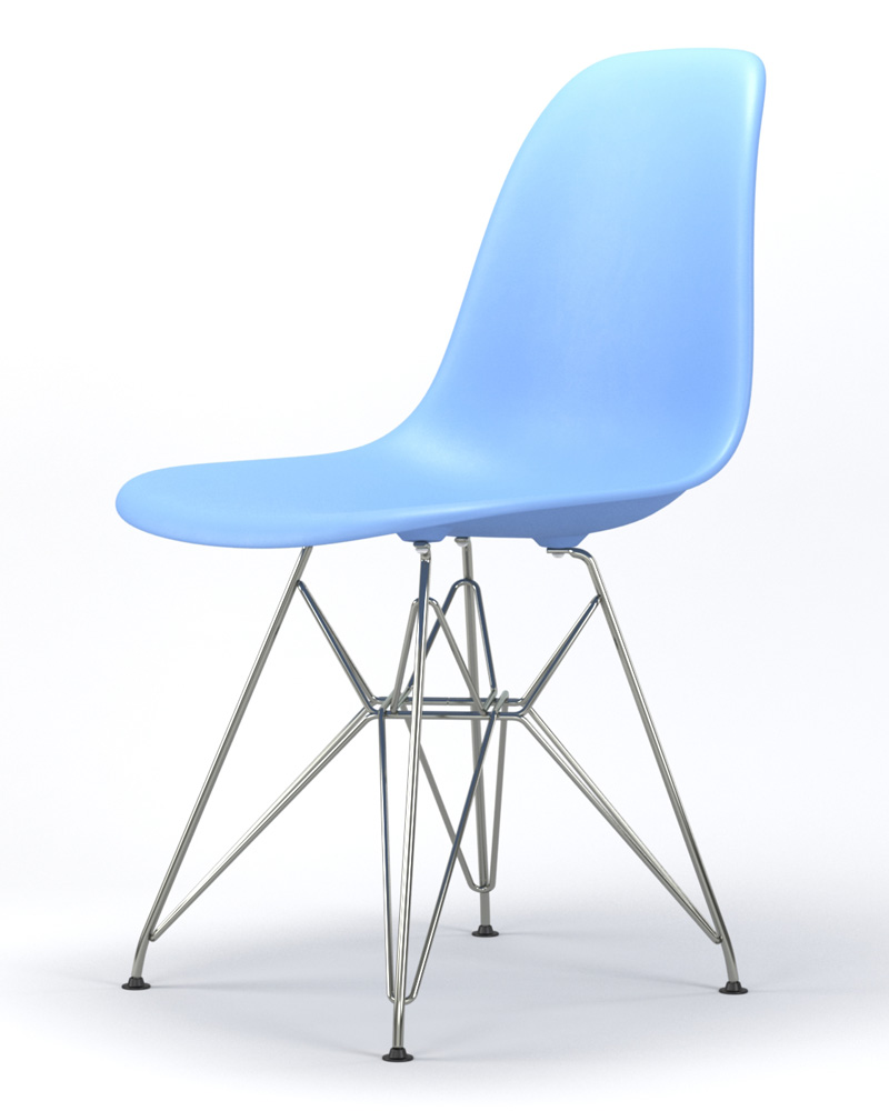 Armin Wire Base Dining Side Chair in Light Blue