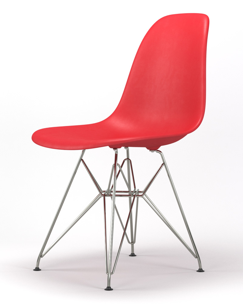 Armin Wire Base Dining Side Chair in Red