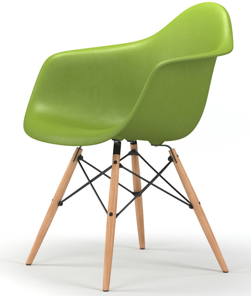 Drame Wooden Base Armchair in Green