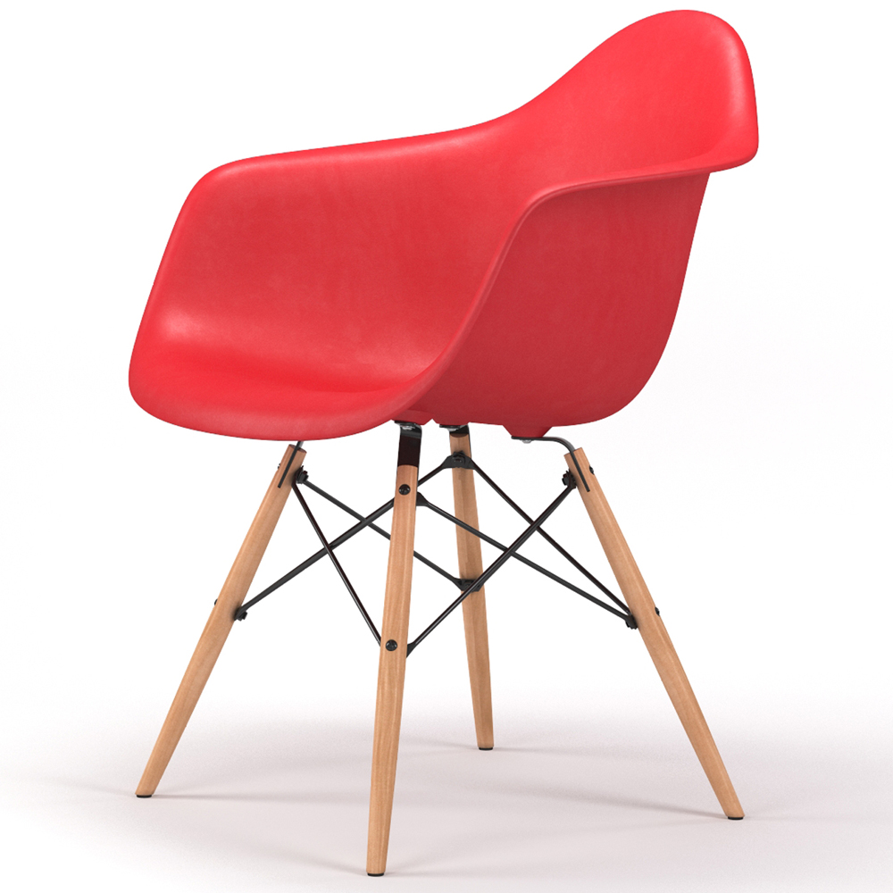 Drame Wooden Base Armchair in Red
