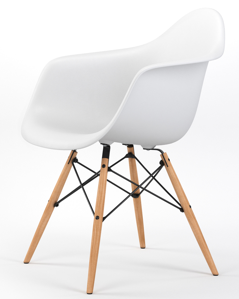 Drame Wooden Base Armchair in White