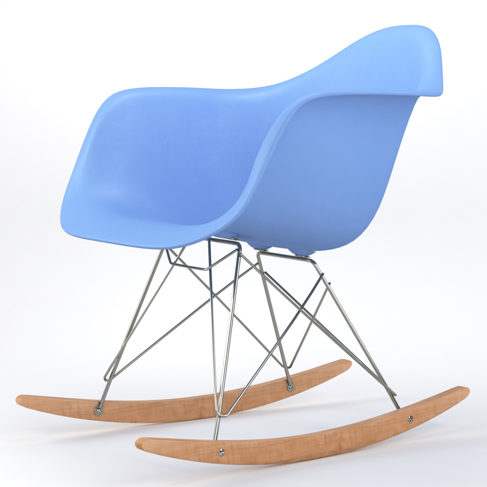 Brevim Hybrid Occasional Rocking Armchair in Light Blue
