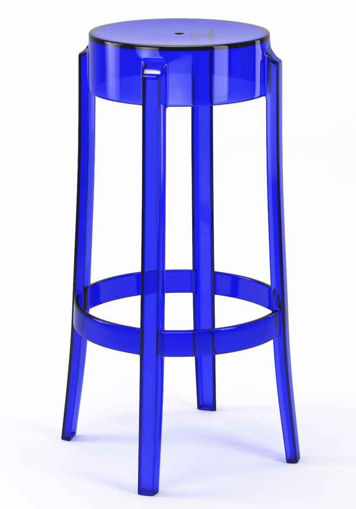 "Phantom 29"" Backless Bar Stool in Blue"