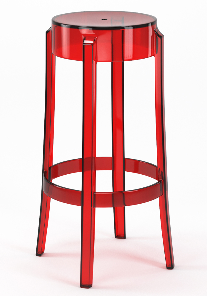 "Phantom 29"" Backless Bar Stool in Red"