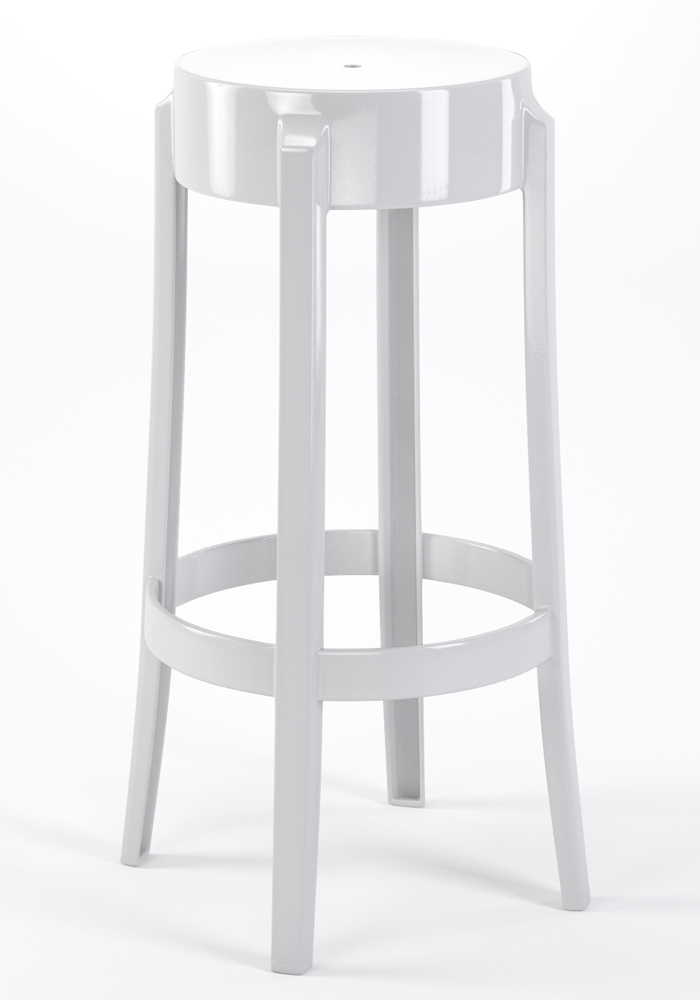 "Phantom 29"" Backless Bar Stool in White"