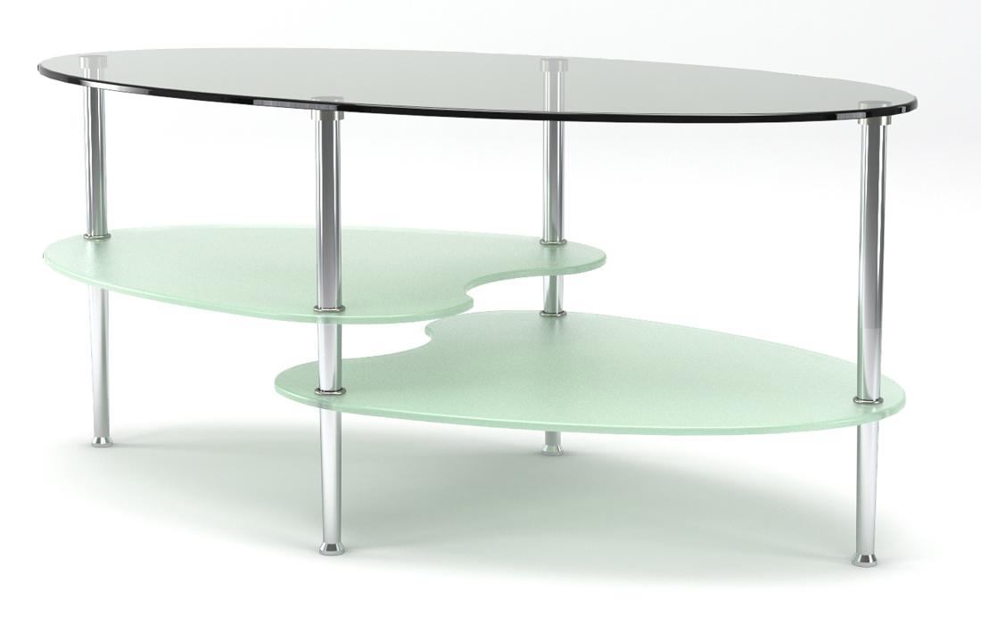 "Fenton 38"" Oval 2-Tier Glass Coffee Table"