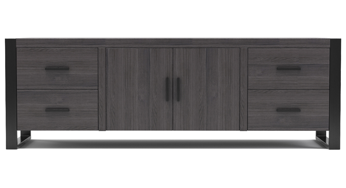 """Milan 70"""" TV Stand in Charcoal and Black"""