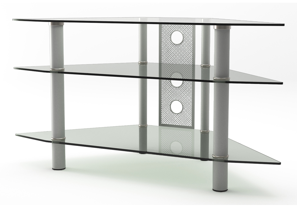 Ruby 44 Inch Corner Glass TV Stand Silver and Clear Glass