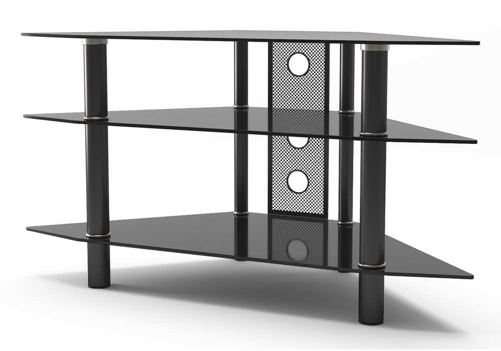 "Ruby 44"" Corner Glass TV Stand in Black"