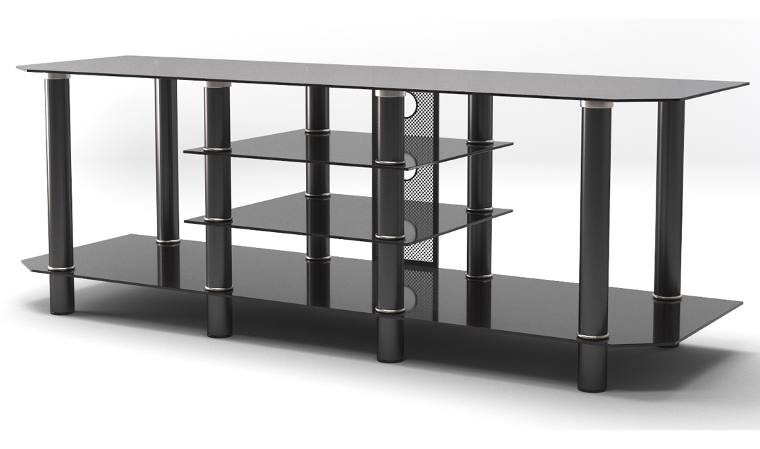 "Salerno 60"" Glass TV Stand in Black"