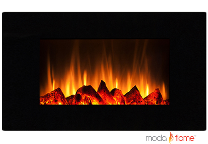 "Chelsea 35"" Curved Black Wall Mounted Electric Fireplace"