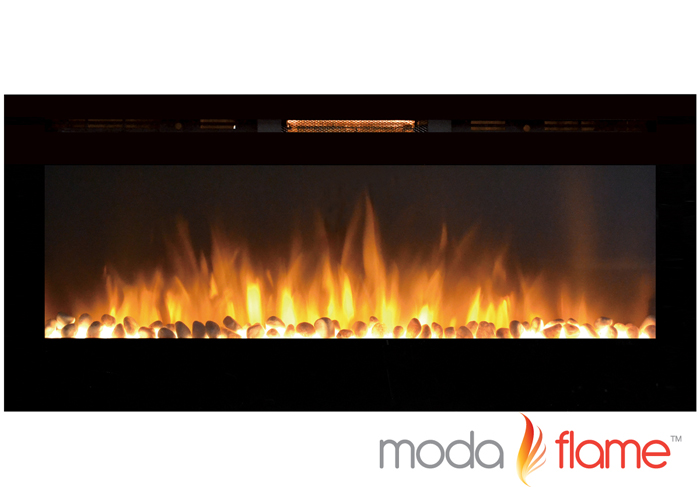 "50"" Cynergy Pebble Stone Built-In Wall Mounted Electric Fireplace"