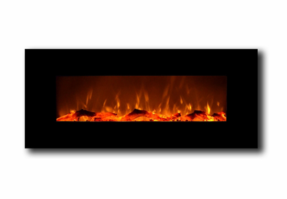 Houston 50 Inch Electric Wall Mounted Fireplace Black