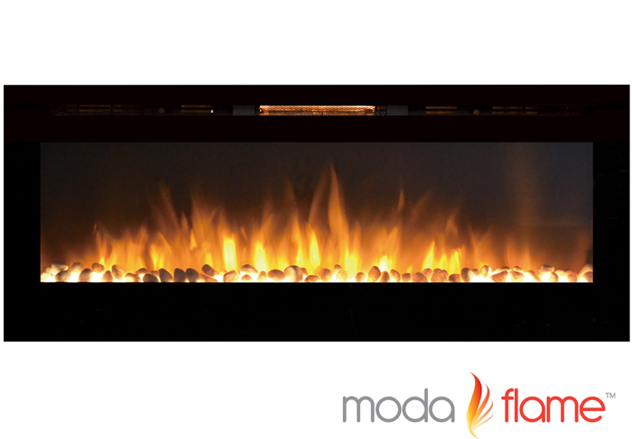 "60"" XL Cynergy Pebble Stone Built-In Wall Mounted Electric Fireplace"
