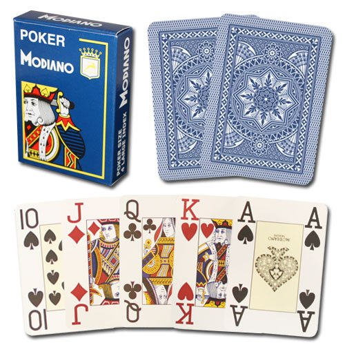 Modiano Cristallo Poker Size, 4 PIP Jumbo Dark Blue