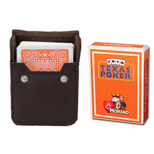 Orange Modiano Texas, Poker-Jumbo Cards w/ Leather Case