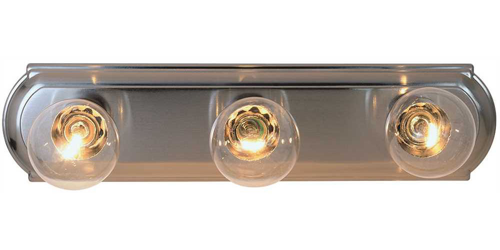 "Beveled Edge Vanity Fixture, Maximum Three 60W Incandescent G-25 Medium Base Bulbs, 18"", Brushed Nickel"