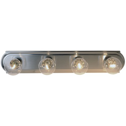 "Beveled Edge Vanity Fixture, Maximum Four 60W Incandescent G-25 Medium Base Bulbs, 24"", Brushed Nickel"