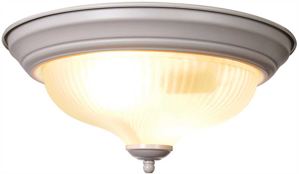 2 Light Flushmount Ceiling Fixture in White Brighten and Frosted Swirl Glass