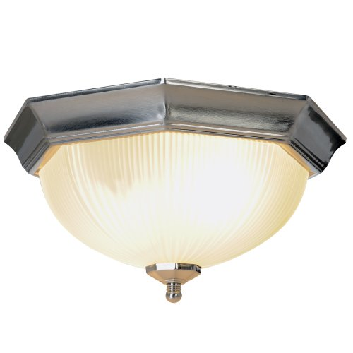 2 Light Flushmount Ceiling Fixture in Brushed Nickel with Frosted Ribbed Shade