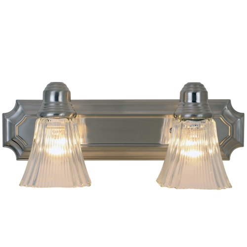 DECORATIVE VANITY LIGHT FIXTURE, MAXIMUM TWO 60 WATT INCANDESCENT MEDIUM BASE BULBS, 18 IN., BRUSHED NICKEL