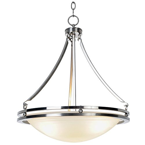 MONUMENT CONTEMPORARY CHANDELIER, MAX THREE 100 WATT INCANDESCENT MEDIUM BASE BULBS, 16-5/8 IN., BRUSHED NICKEL