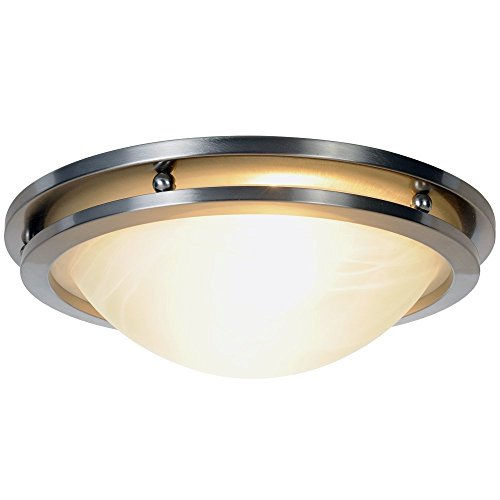 MONUMENT CONTEMPORARY FLUSH MOUNT CEILING FIXTURE, MAX TWO 60W INCANDESCENT MEDIUM BASE BULBS, 14 IN., BRUSHED NICKEL
