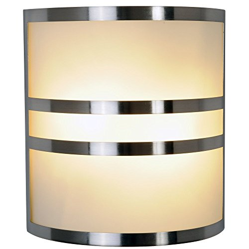 CONTEMPORARY WALL SCONCE FIXTURE, MAXIMUM TWO 60 WATT INCANDESCENT MEDIUM BASE BULBS, 10 IN., BRUSHED NICKEL WITH ACCENTS