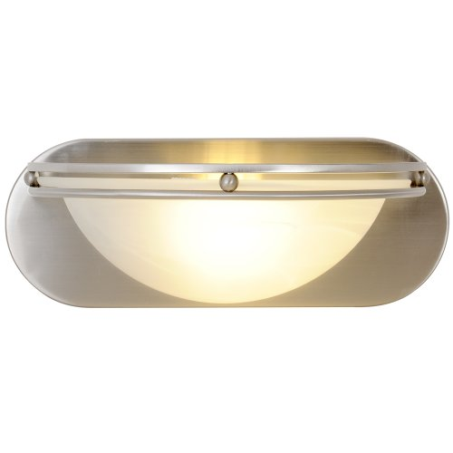 CONTEMPORARY VANITY FIXTURE, MAXIMUM ONE 100 WATT INCANDESCENT MEDIUM BASE BULBS, 12 IN., BRUSHED NICKEL