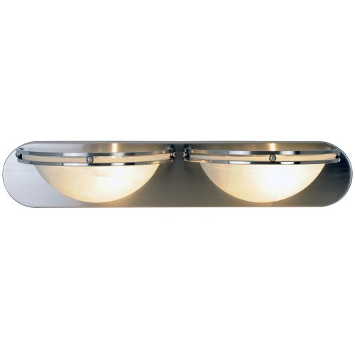 CONTEMPORARY LIGHT VANITY FIXTURE, MAXIMUM TWO 100 WATT INCANDESCENT MEDIUM BASE BULBS, 24 IN., BRUSHED NICKEL