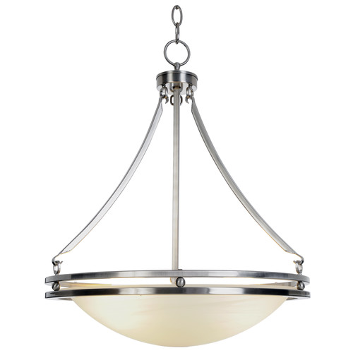 "16-5/8"" Contemporary 3 Lights Fluorescent Chandelier, Brushed Nickel with Alabaster Glass Shade"