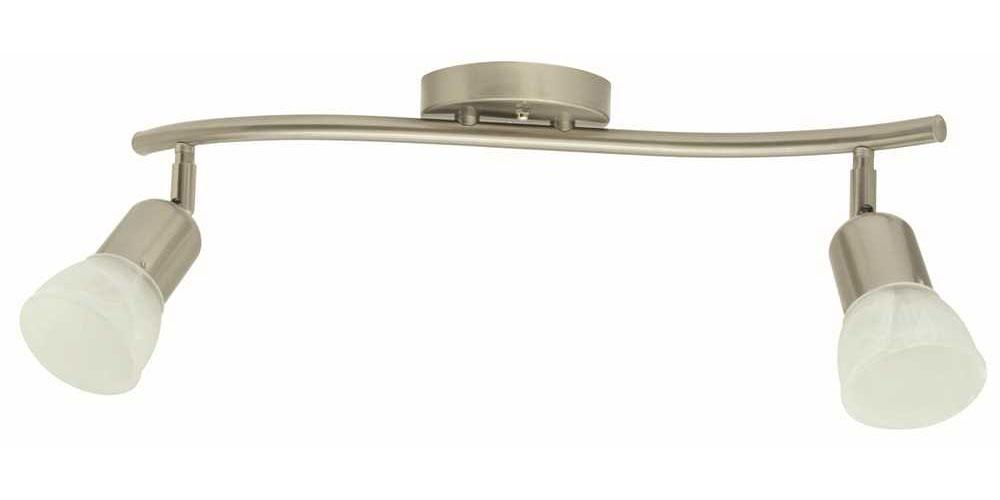 "19"" Contemporary Flush Mount Ceiling Fixture, Maximum Two 60 Watt Incandescent Medium Base Bulbs, Brushed Nickel"