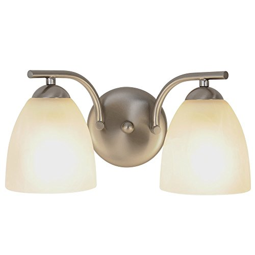 CONTEMPORARY VANITY LIGHT FIXTURE, MAXIMUM TWO 100 WATT INCANDESCENT MEDIUM BASE BULBS, 13-1/2 IN., BRUSHED NICKEL