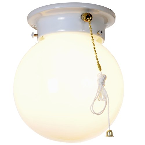 "ROYAL COVE GLOBE CEILING FIXTURE WITH PULL CHAIN, 6"", WHITE, USES 1 60-WATT INCANDESCENT MEDIUM BASE BULB"