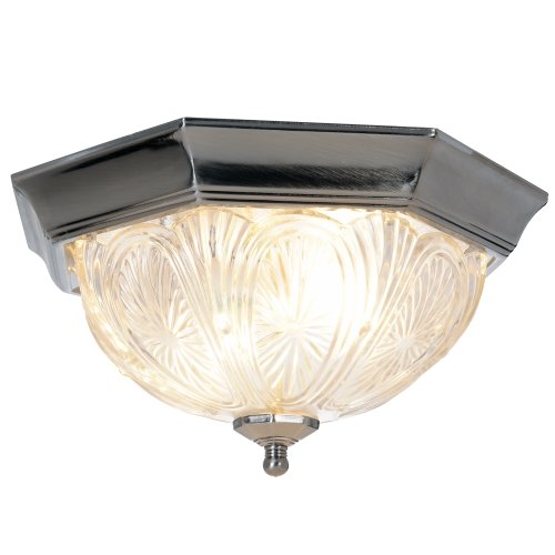 "12"" Royal Cove Decorative Octagon Shaped Ceiling Fixture, Uses 2 60W Incandescent Medium Base Bulbs, Pewter"