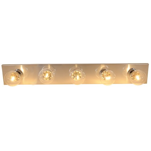 "30"" Royal Cove Vanity Strip Light Fixture, Uses 5 60W Incandescent G25 Medium Base Bulbs, Polished Chrome"