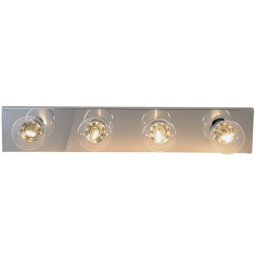 "ROYAL COVE VANITY STRIP LIGHT FIXTURE, 24"", POLISHED CHROME, USES 4 60-WATT INCANDESCENT G25 BASE BULBS"