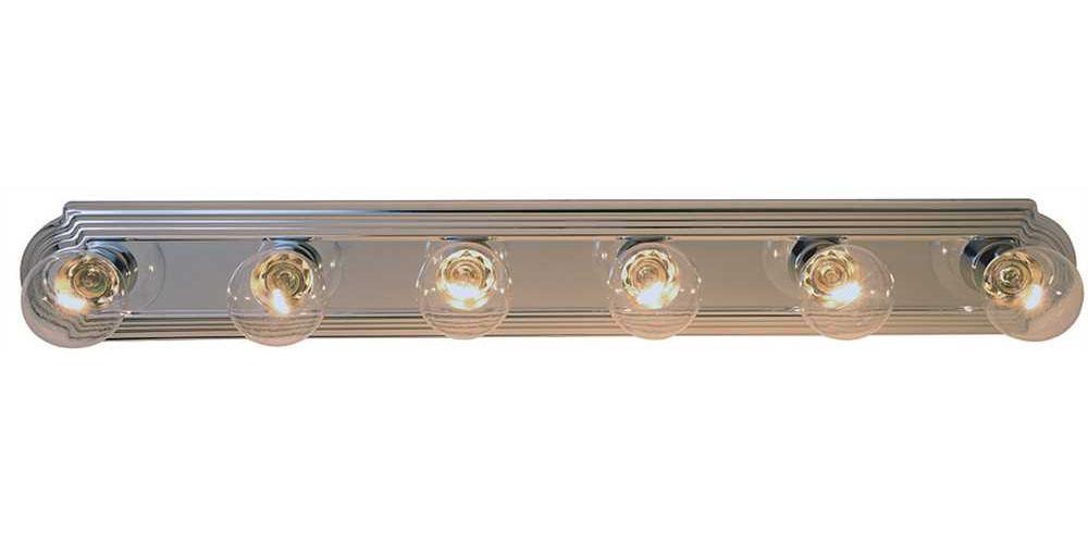 "36"" Beveled Edge Vanity Strip Light Fixture, Maximum 6 60W Incandescent G-25 Medium Base Bulbs, Polished Chrome"
