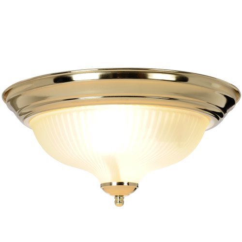 "13"" Decorative Surface Mount Ceiling Fixture, Maximum Two 75W Incandescent Medium Base Bulbs, Polished Brass"