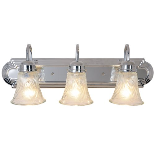 "24"" Decorative Vanity Fixture, Maximum Three 60W Incandescent Medium Base Bulbs, Polished Chrome"