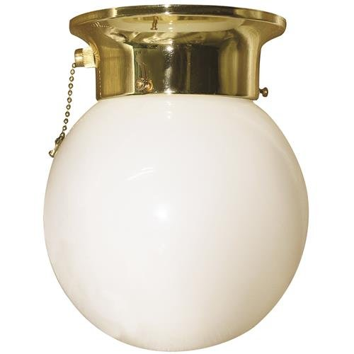 "6"" Royal Cove Globe 1 Light Ceiling Fixture, Incandescent Medium Base, Polished Brass"