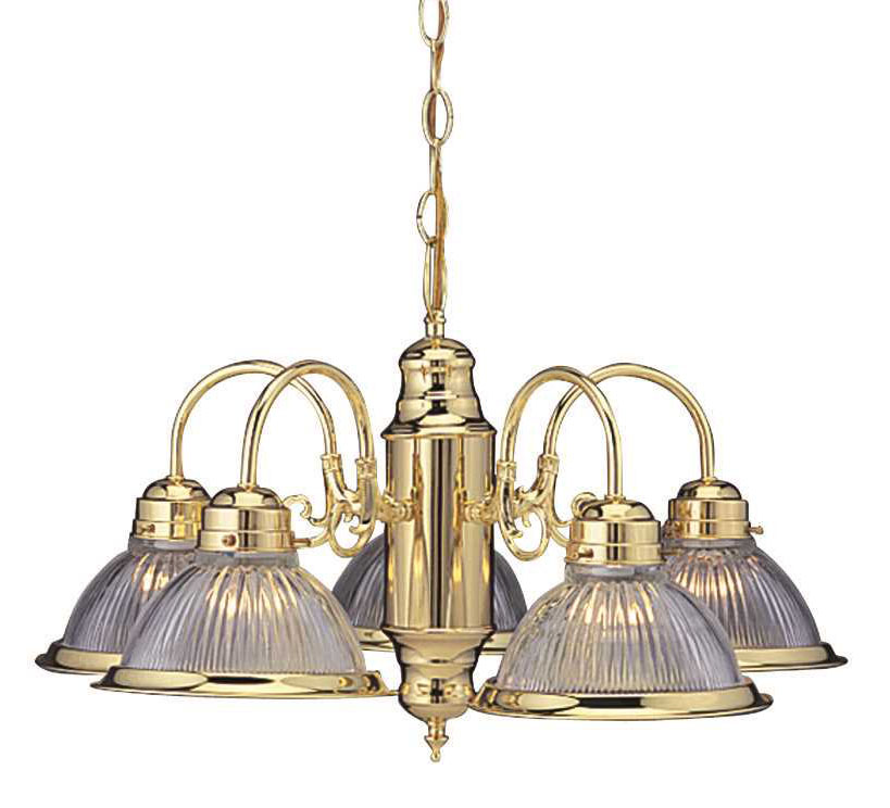 "24"" Traditional 5 Lights Chandelier Ceiling Fixture, Medium Bulb Base, Polished Brass"